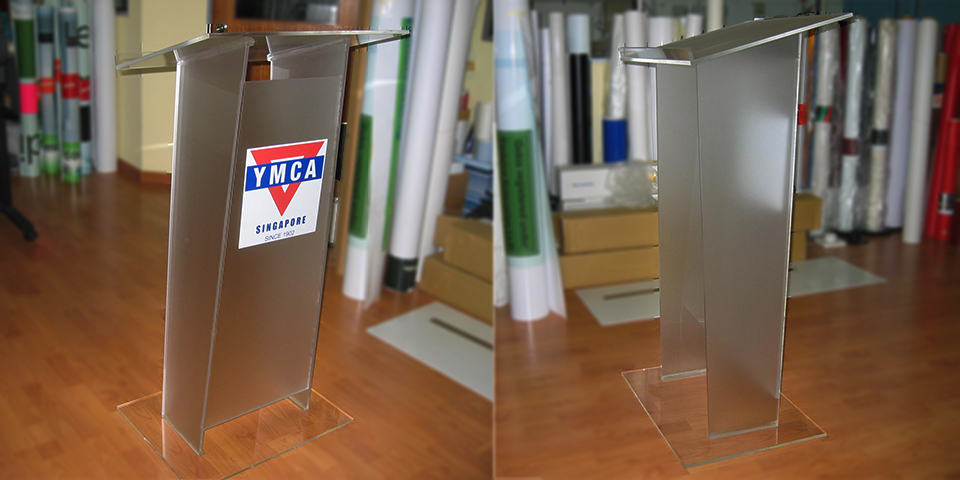 YMCA Acrylic rostrum front and side view