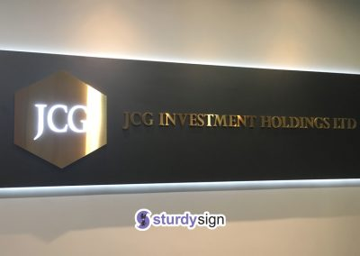 JCG Investment Holdings Stainless steel box-up signage lighted