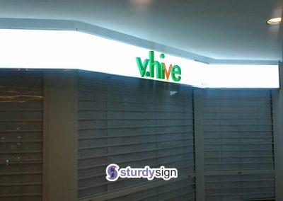 Vhive 3d acrylic box-up signage on white lightbox