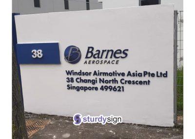 Barnes Aerospace Boundary Wall Acrylic Sign