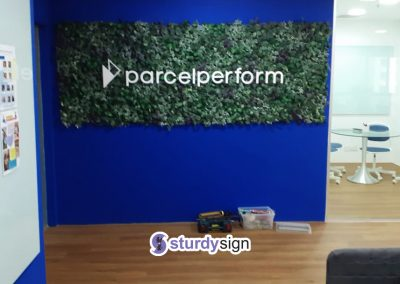 Parcel Perform 3d acrylic signage feature wall