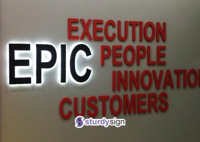 EPIC office feature wall signage