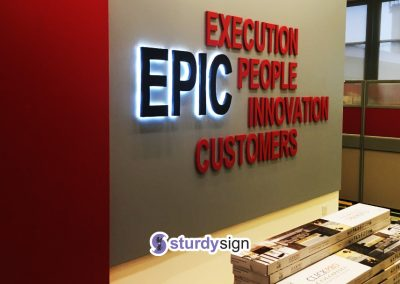 EPIC 3d box-up signage lighted