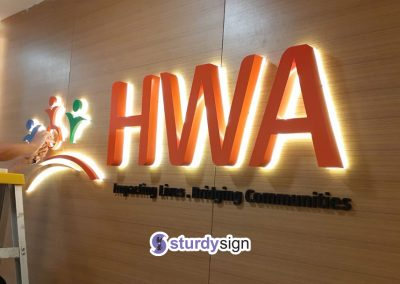 HWA 3d box-up lighted signage