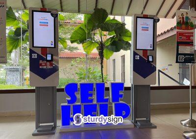 Self-help kiosk freestanding 3d box up lighted signage