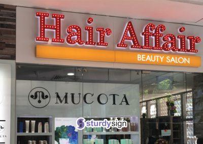 Hair affair marquee lighted signage