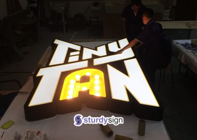 BTS 3d box-up customised signage with front and marquee finish