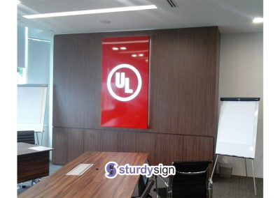 UL Office feature wall lightbox signage